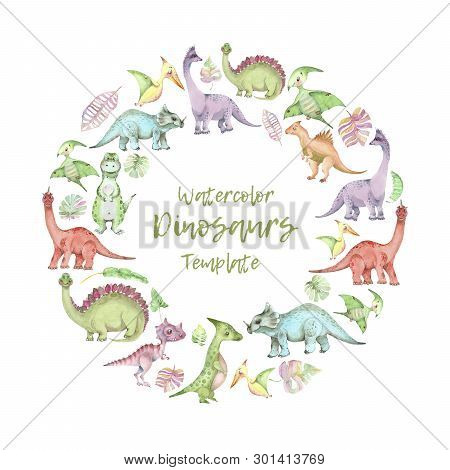 Circle Template From Cartoon Watercolor Dinosaurs. Cute Hand Drawn Funny Illustration Of Dinosaurs R