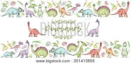 Horisontal Banner From Cartoon Watercolor Dinosaurs. Cute Hand Drawn Funny Illustration Of Dinosaurs