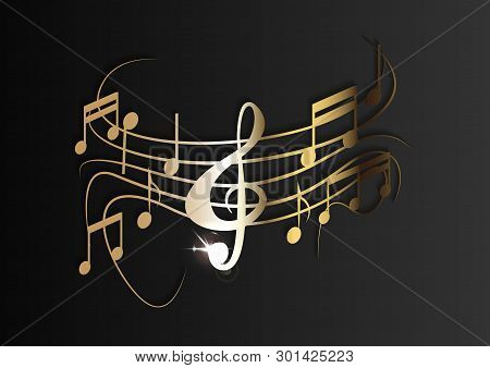 Gold Music Notes On A Solid Black Background. Vector