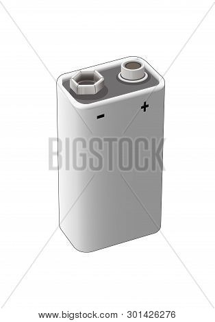 9 Volt Nickel, Alkaline Or Lithium Battery. Isolated Vector Illustration.