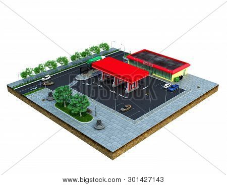 Piece Of Land Gas Station With Parking On The Ground 3d Render On White No Shadow