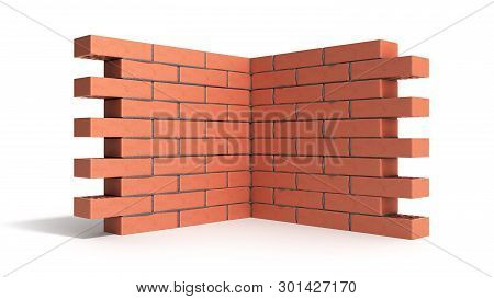 Piece Of Brick Wall 3d Render On White