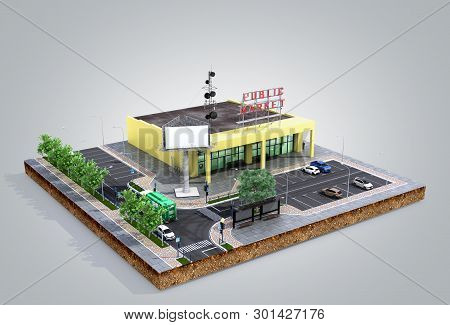 Piece Of Land Supermarket With Parking On The Ground 3d Render On Grey Gradient