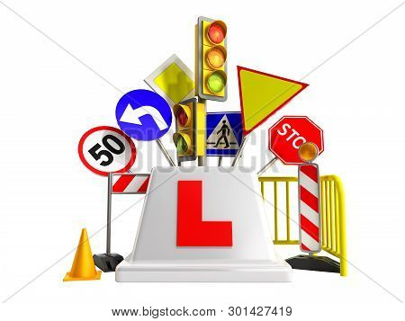 Concept Of Driver School Logo Road Signs Traffic Lights Fencing 3d Render On White No Shadow