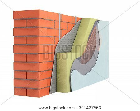 Layered Brick Wall Thermal Insulation Concept 3d Render On White No Shadow