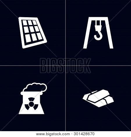 Set Of 4 Industry Icons Set. Collection Of Overhead Crane, Nuclear Power, Metal Material And Other E