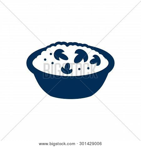 Isolated Meal Icon Symbol On Clean Background.  Risotto With Mushroom Element In Trendy Style.