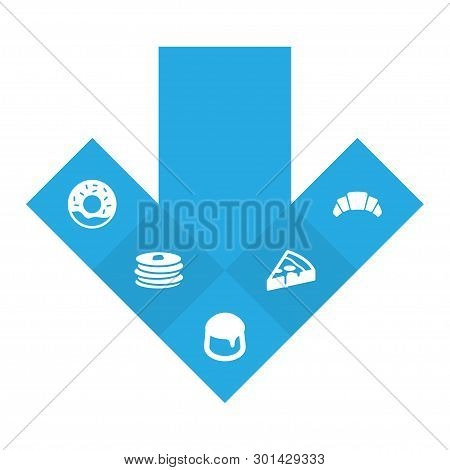 Set Of 5 Bakery Icons Set. Collection Of Croissant, Pancakes, Donuts And Other Elements.