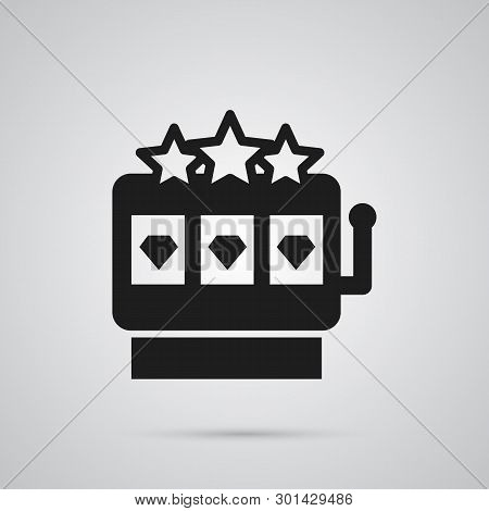 Isolated Slot Machine Icon Symbol On Clean Background.  Jackpot Element In Trendy Style.