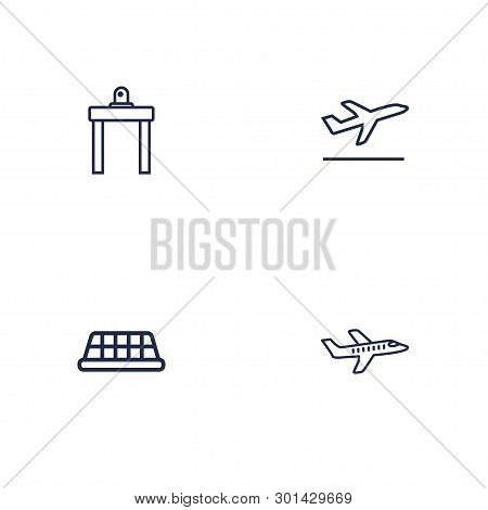 Set Of 4 Plane Icons Line Style Set. Collection Of Departure, Aicraft, Cab And Other Elements.