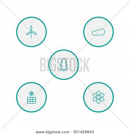 Set Of 5 Ecology Icons Line Style Set. Collection Of Overcast, Wind Energy, Bloom And Other Elements
