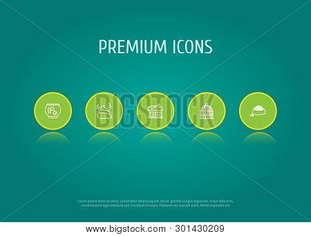 Set Of 5 Mammal Icons Line Style Set. Collection Of Food, Store, Birdcage And Other Elements.