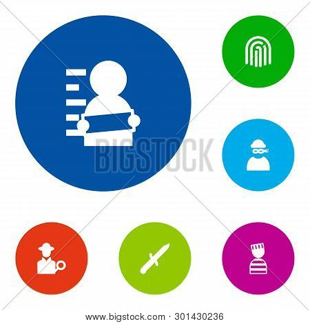 Set Of 6 Criminal Icons Set. Collection Of Fingerprint, Detective, Suspect And Other Elements.