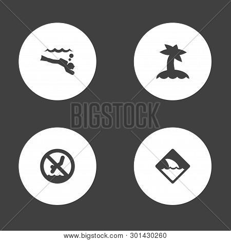 Set Of 4 Coast Icons Set. Collection Of Diver, Shark Sign, Island Elements.