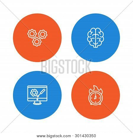 Set Of 4 Startup Icons Line Style Set. Collection Of Gear, Intelligence, Time In Fire And Other Elem