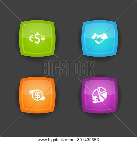 Set Of 4 Budget Icons Set. Collection Of Exchange, Transaction, Handshake Elements.