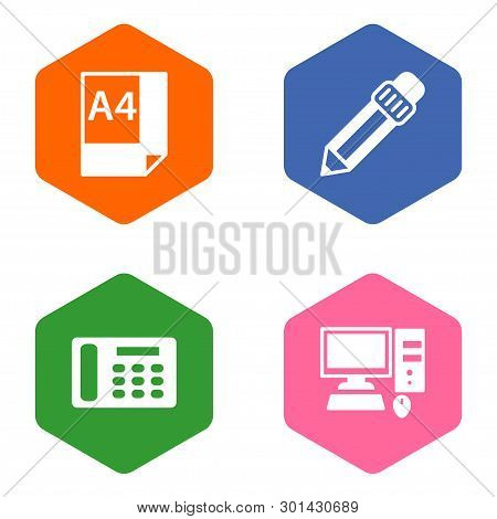 Set Of 4 Work Icons Set. Collection Of Pencil, Desktop, Contacts And Other Elements.