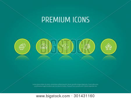 Set Of 5 Bio Icons Line Style Set. Collection Of Fire, Protection, Treatment And Other Elements.