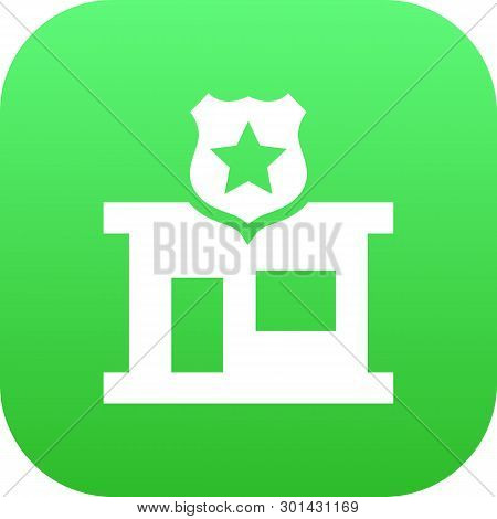 Isolated Commissariat Icon Symbol On Clean Background.  Police Station Element In Trendy Style.