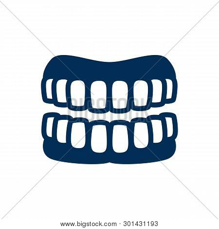 Isolated Denture Icon Symbol On Clean Background.  Prosthesis Element In Trendy Style.