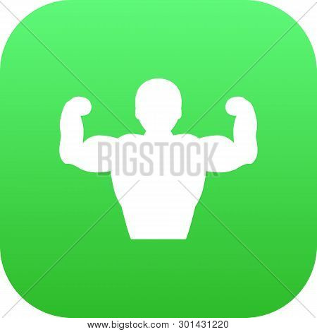 Isolated Bodybuilder Icon Symbol On Clean Background.  Muscular Element In Trendy Style.