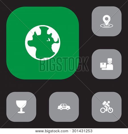 Set Of 6 Shipment Icons Set. Collection Of Taxi, Bicycle, Pinpoint And Other Elements.