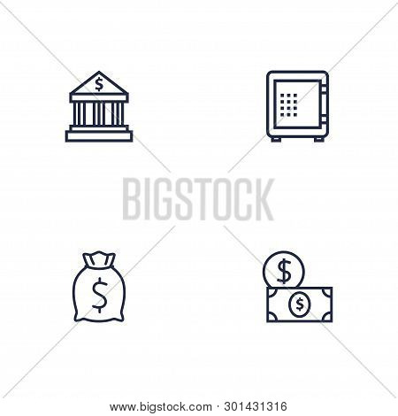 Set Of 4 Budget Icons Line Style Set. Collection Of Money, Strongbox, Sack And Other Elements.