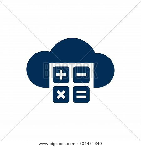 Isolated Cloud Computing Icon Symbol On Clean Background.  Calculator Element In Trendy Style.