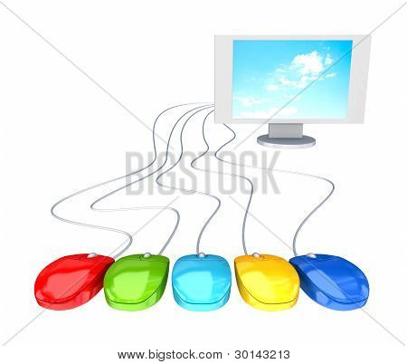 Monitor and five red mouses.