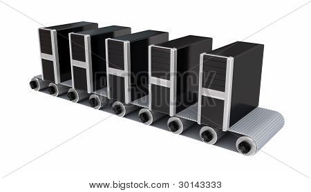 PC towers on conveyor.