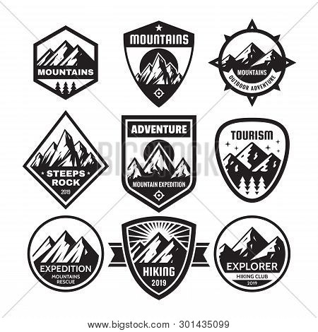 Set Of Adventure Outdoor Concept Badges, Summer Camping Emblem, Mountain Climbing Logo In Black & Wh