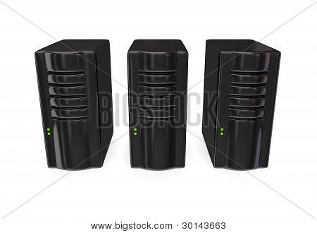 Three black server PC's