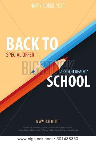 Back To School Banner With Colour Pencils. Vector Illustration.