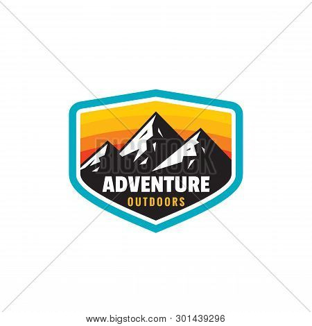 Adventure Outdoors - Concept Badge. Mountain Climbing Logo In Flat Style. Extreme Exploration Sticke