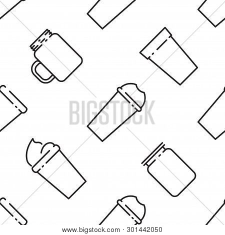 Outline Seamless Pattern Of Smoothies. Superfoods And Health Or Detox Diet Food Concept In Line Styl