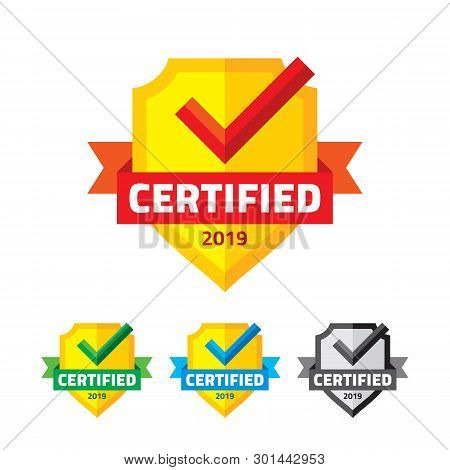 Certified Badge With Shield, Ribbon And Checkmark - Business Symbol. Vector Sign Of Origin And Quali
