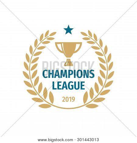 Champions League Badge Logo Design. Gold Cup Icon Vector Illustration.