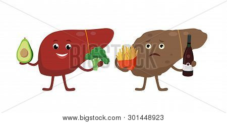 Healthy And Unhealthy Liver Cartoon Characters Isolated On White. Cheerful Liver With Healthy Vegeta