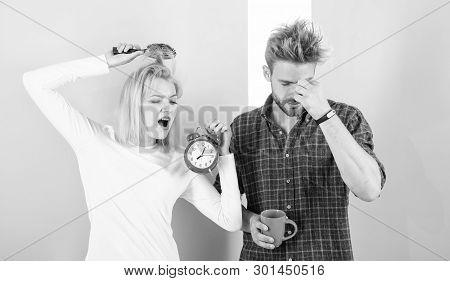 Regret Late Regime. Couple Morning Awakening Alarm Clock. Create Healthy Rest Regime To Sleep Enough