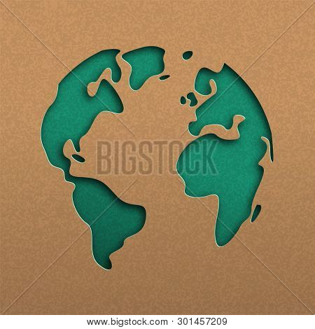 Papercut World Map Illustration. Green Cutout Earth In Recycled Paper For Planet Conservation Awaren