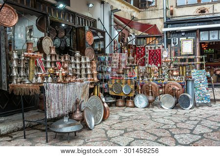 Large variety of souvenirs for sale in historic center of Sarajevo, Bosnia poster