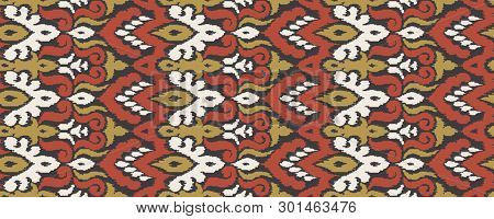 Ethnic Style Seamless Pattern With Ikat Stylized Ornament. Traditional Ornamental Textile Design. Fo