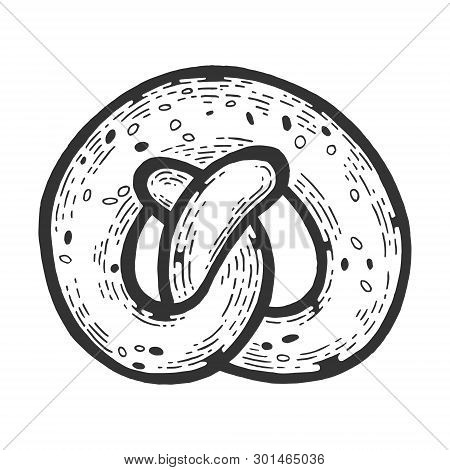 Kringle Pretzel Pastry Bakery Product Sketch Engraving Vector Illustration. Scratch Board Style Imit