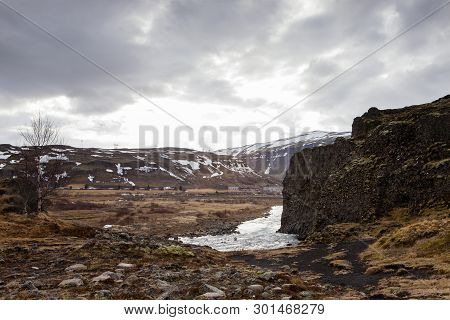 The Scenic Beauty At Hjalparfoss In Iceland
