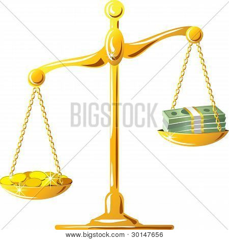 Vector Unbalanced Gold Scale With Coines And Banknotes
