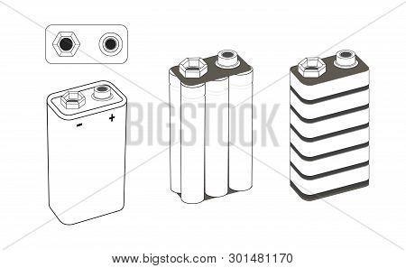 9 Volt Nickel, Alkaline Or Lithium Battery Scheme. Battery Inside. Isolated Vector Illustration.