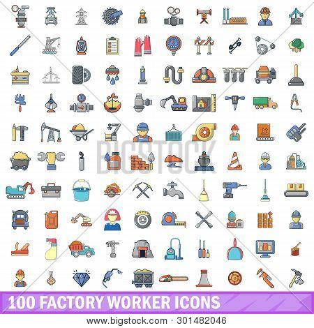 100 Factory Worker Icons Set. Cartoon Illustration Of 100 Factory Worker Icons Isolated On White Bac