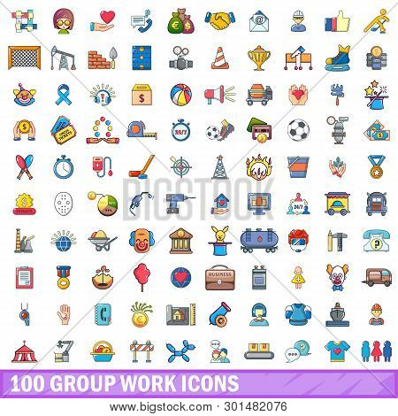 100 Group Work Icons Set. Cartoon Illustration Of 100 Group Work Icons Isolated On White Background