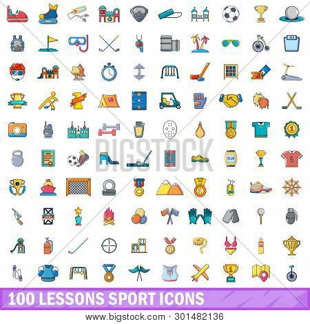 100 Lessons Sport Icons Set. Cartoon Illustration Of 100 Lessons Sport Icons Isolated On White Backg