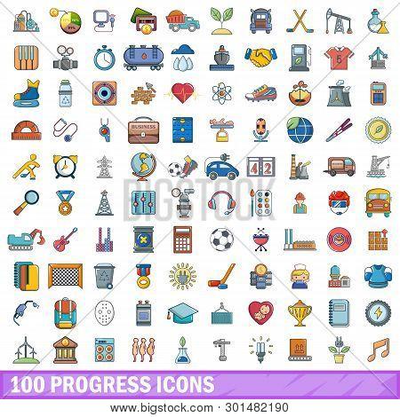 100 Progress Icons Set. Cartoon Illustration Of 100 Progress Icons Isolated On White Background